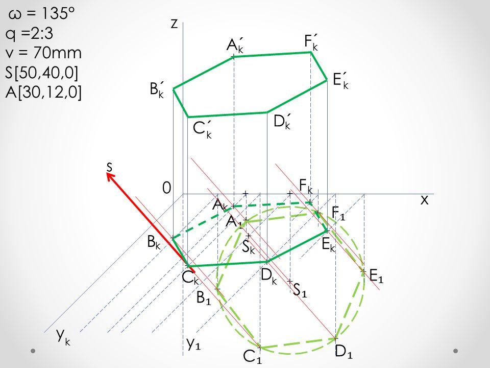 q =2:3 z v = 70mm F´ S[50,40,0] A´ A[30,12,0] E´ B´ D´ C´ s F x A F₁